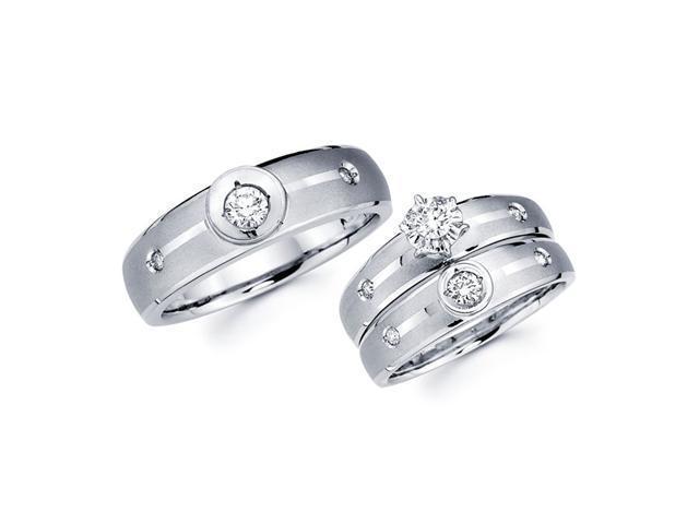 Diamond Engagement Rings Set & Wedding Bands 14k White Gold (0.40 CT)