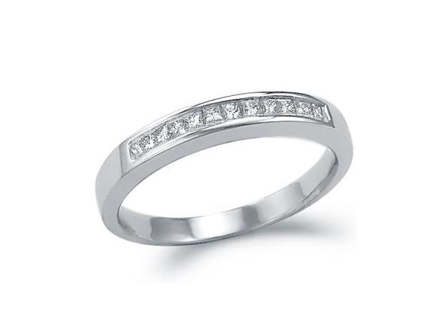 Princess Diamond Wedding Band 14k White Gold Anniversary Ring (1/4 CT)