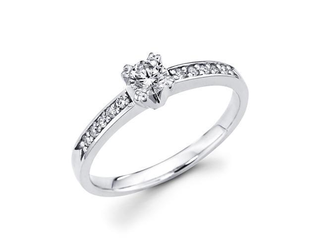 Round Diamond Engagement Ring 14k White Gold Bridal (1/3 Carat)