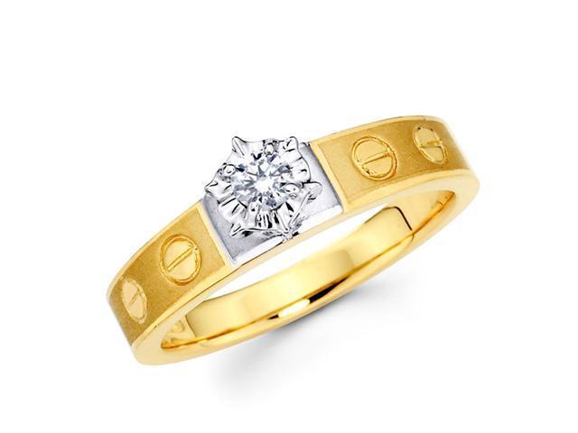 Diamond Engagement Ring 14k Multi-Tone Gold Bridal (1/10 Carat)