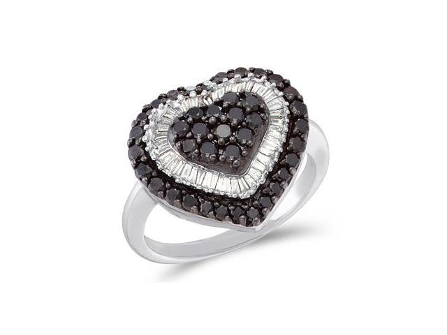 White & Black Diamond Heart Ring 14k White Gold Fashion Band (1.20 CT)