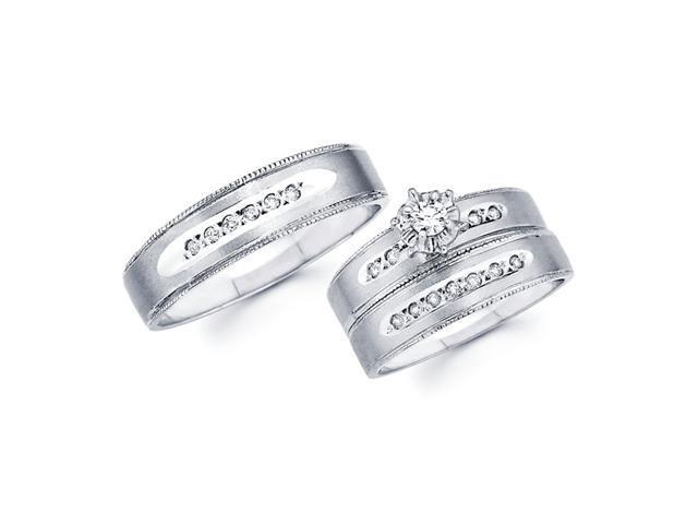 Diamond Engagement Rings Set & Wedding Bands 14k White Gold (1/4 CT)