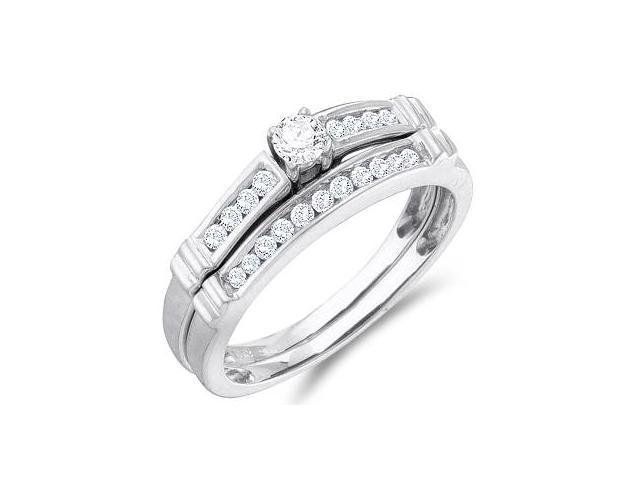 Diamond Engagement Ring & Wedding Band Set 14k White Gold (1/3 Carat)