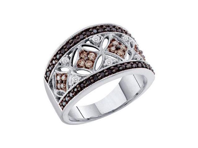 Black & Champagne Diamond Band 14k White Gold Ring (1/2 Carat)