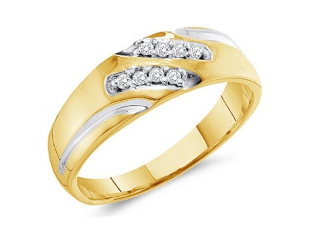 Men's Diamond Wedding Ring 10k Yellow Gold Engagement Band 0.12 Carat