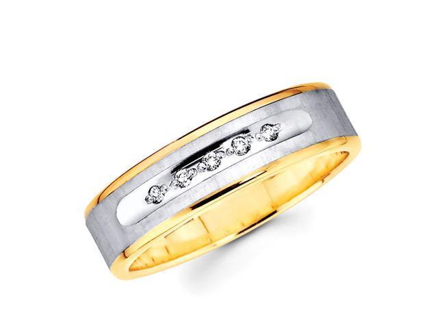 Men's Diamond Wedding Band 14k Multi-Tone Gold Ring (0.05 Carat)