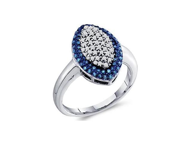 Aqua Blue Diamond Ring 10k White Gold Anniversary Band (1/3 Carat)