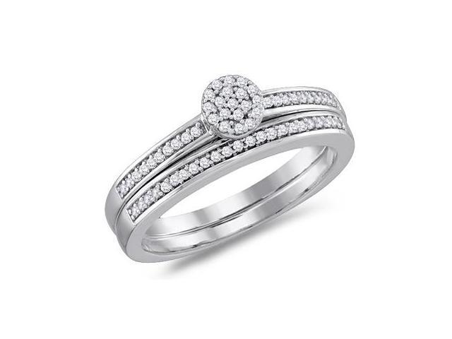 Diamond Engagement Ring & Wedding Band White Gold Bridal (1/5 Carat)