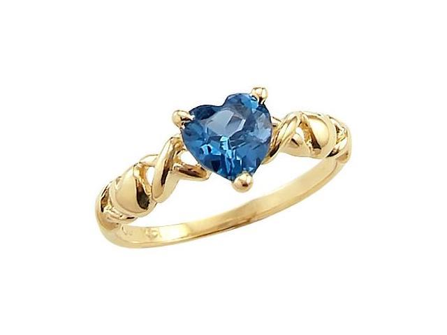 Blue CZ Cubic Zirconia Heart Ring 14k Yellow Gold XOX Anniversary Band
