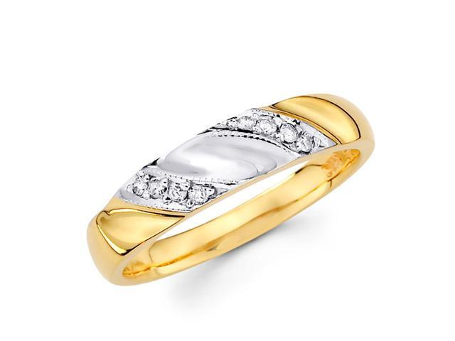 Women's Diamond Wedding Ring 14k Multi-Tone Gold Band (1/10 Carat)