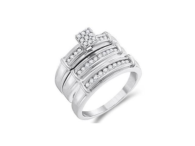 Diamond Engagement Ring & Wedding Bands 14k White Gold Bridal (.43 CT)