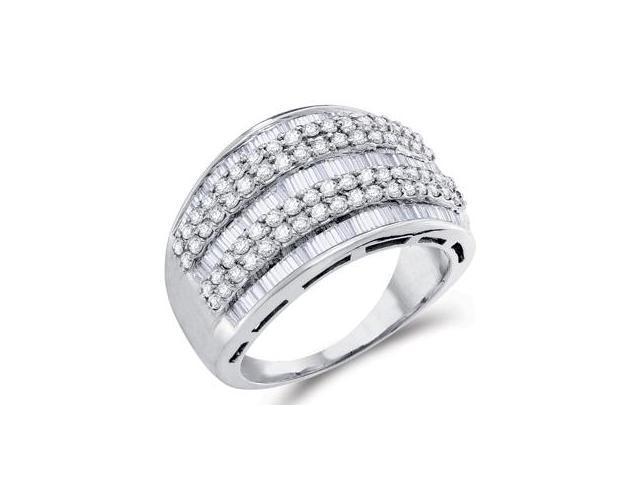 Diamond Fashion Ring 14k White Gold Womens Band Bridal (1.30 Carat)