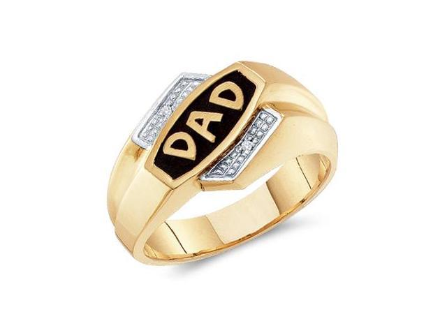 DAD Father Gift Mens Diamond Ring 10k Yellow Gold Band