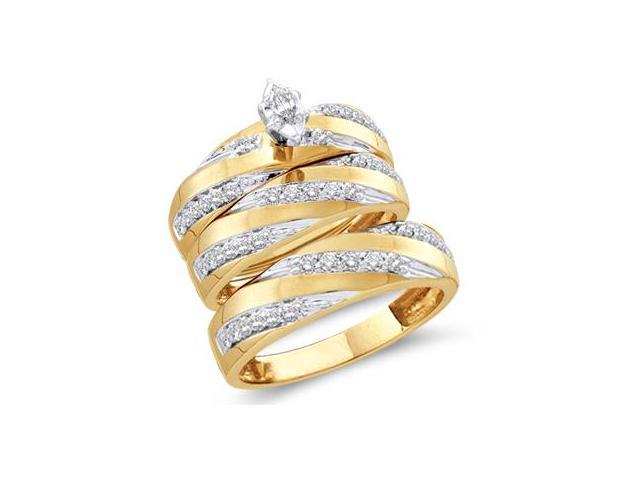 Men & Womens Diamond Engagement Ring Wedding Set 10k Yellow Gold .77ct