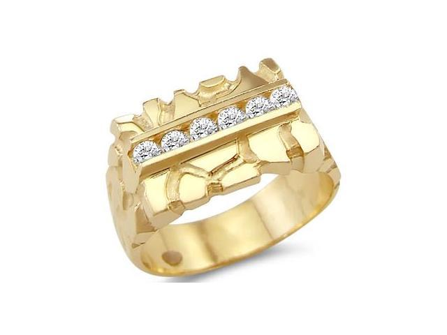 Men's Nugget Ring CZ 14k Yellow Gold Fashion Band Cubic Zirconia 1/2ct