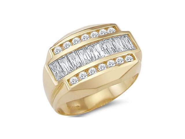Men's Ring Fashion CZ 14k Yellow Gold Band Cubic Zirconia (2.00 Carat)