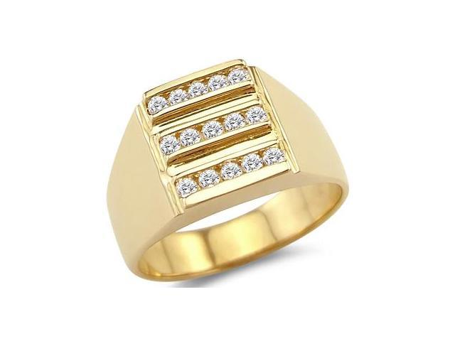 Men's Fashion Ring CZ 14k Yellow Gold Band Cubic Zirconia (1/2 Carat)
