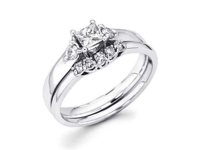 Princess Diamond Engagement Rings Set Wedding 14k White Gold 1/2 CT