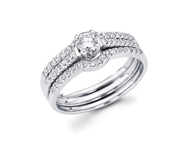 Diamond Engagement Rings Set Wedding Bands 14k White Gold (0.40 Carat)