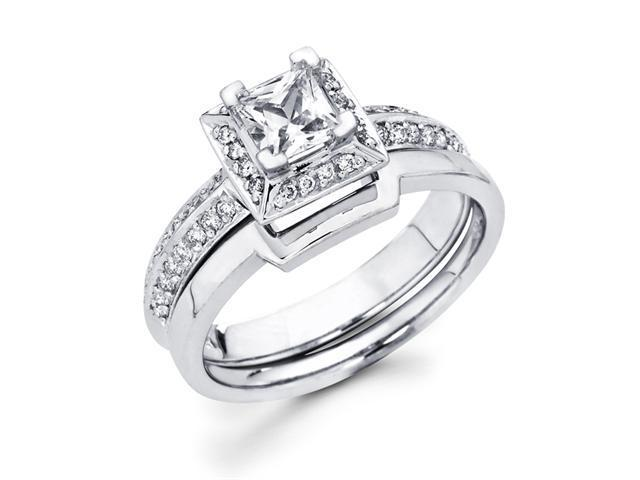 Princess Diamond Engagement Rings Set Wedding 14k White Gold 2/3 CT
