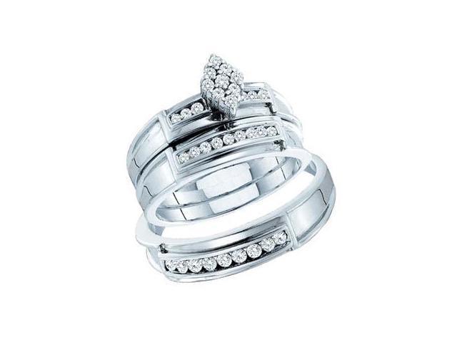 Diamond Engagement Ring & Wedding Bands 14k White Gold Bridal (.51 CT)
