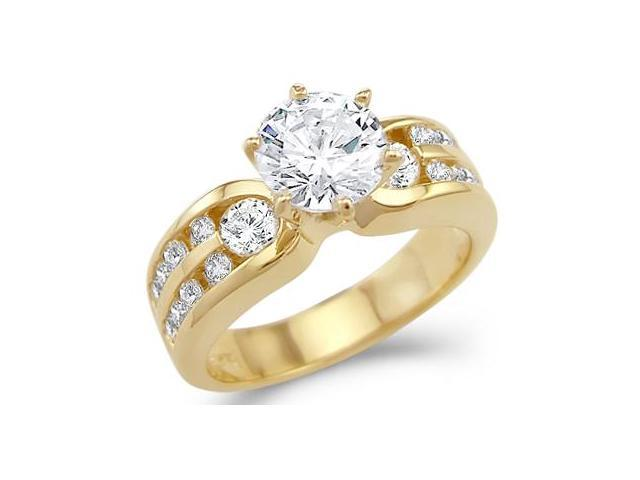 CZ Engagement Ring Bridal 14k Yellow Gold Solitaire Anniversary (2 CT)