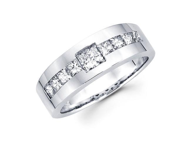Mens Princess Diamond Wedding Band 14k White Gold Ring (1.43 Carat)