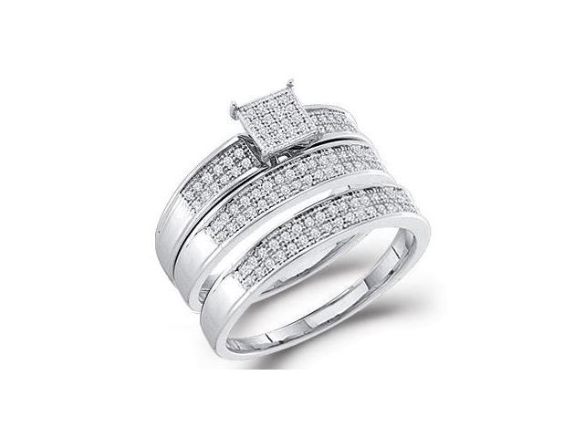 Diamond Engagement Rings & Wedding Bands 10k White Gold Set (.33 CT)