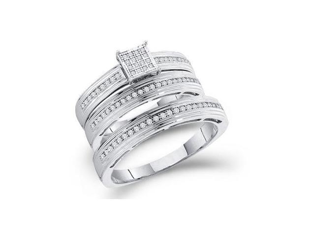 Diamond Engagement Ring & Wedding Bands 10k White Gold Bridal (1/4 CT)