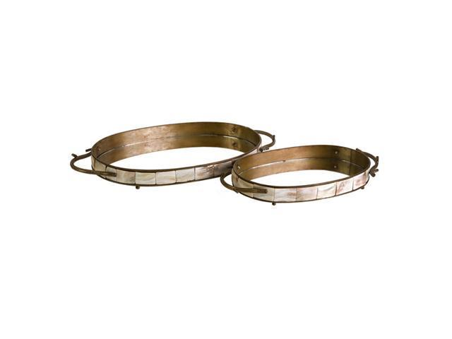 Set of 2 Decorative Mosaic Style Oval Mirrored Trays