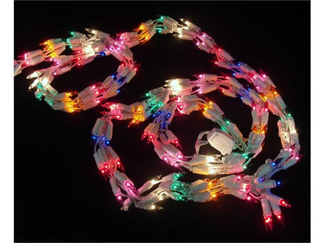 9' Christmas Light Garland with 300 Multi Mini Lights - White Wire
