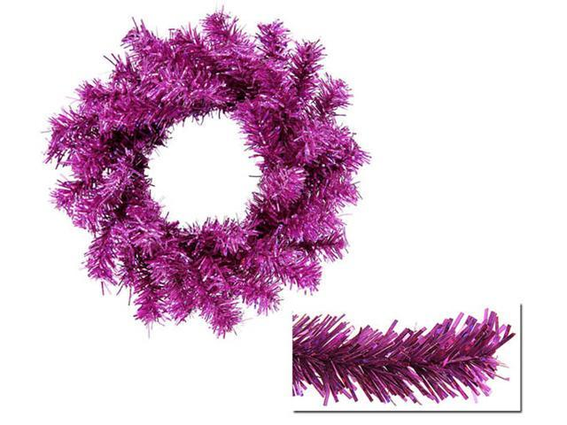 Club Pack of 24 Sparkling Fuschia Tinsel Artificial Christmas Wreaths 6