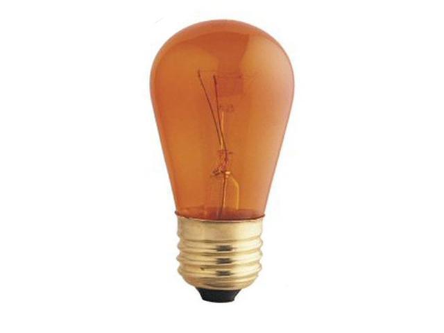 Club Pack of 25 Transparent Amber E26 Base Replacement S14 Light Bulbs - 11 Watt