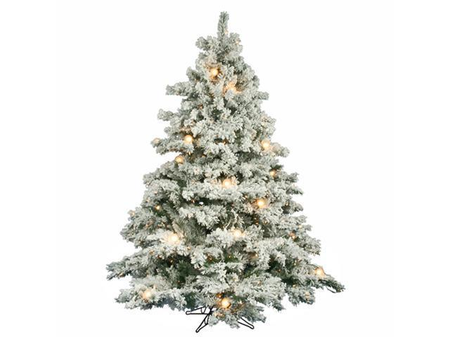 6.5' Pre-Lit Flocked Alaskan Artificial Christmas Tree - G50 & Clear Lights