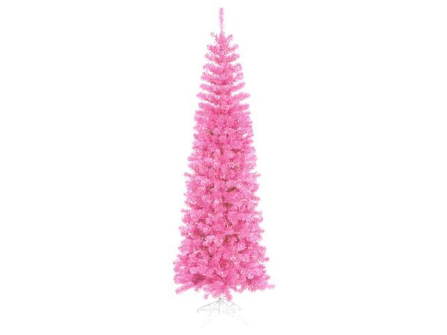 7.5' Pre-Lit Hot Pink Artificial Pencil Tinsel Christmas Tree - Pink Lights