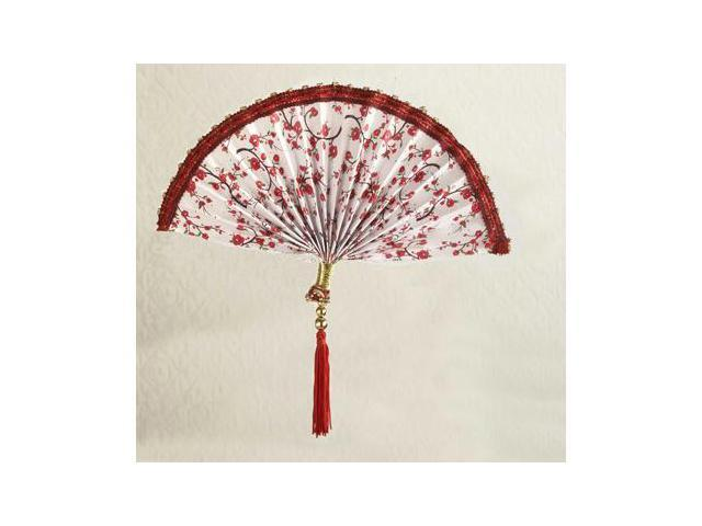 Asian Fusion Beaded White Fan with Red Tassel Christmas Ornament 9.5