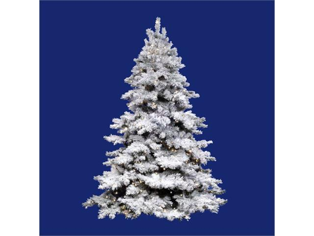 7.5' Pre-Lit Flocked Alaskan Artificial Christmas Tree - Clear Dura Lights