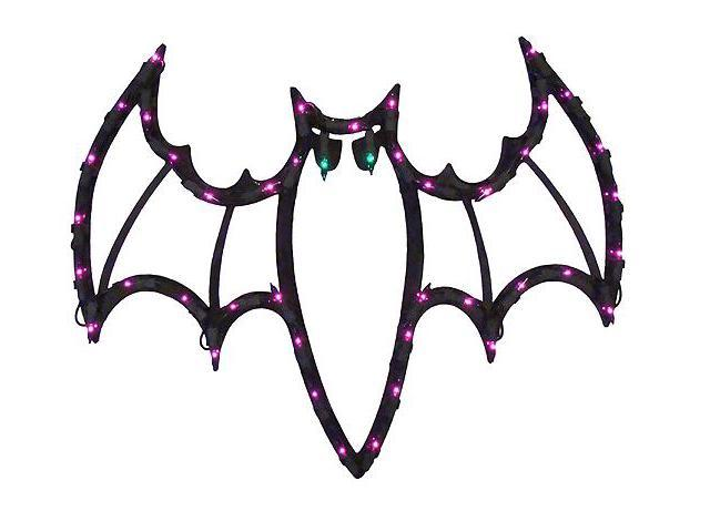 "18"" Lighted Halloween Spooky Bat Window Silhouette Decoration"