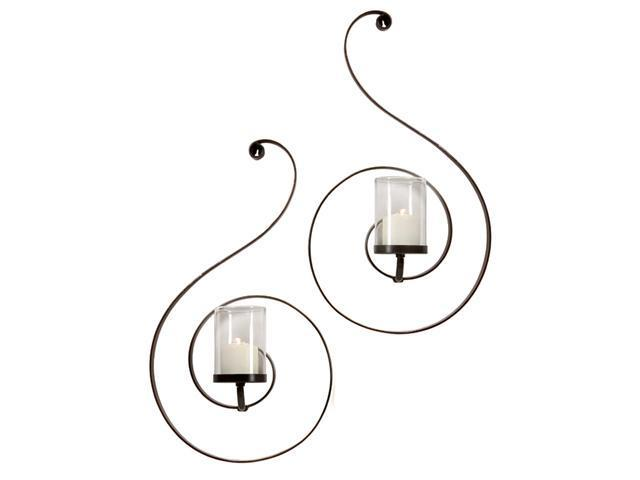 Set of 2 Delicate Swirl Design Candle Wall Sconces 25