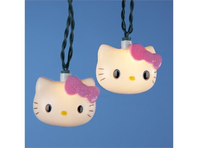 Set of 10 Hello Kitty with Pink Bow Novelty Christmas Lights - Green Wire