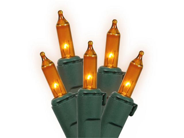 Set of 150 Heavy-Duty Amber Mini Christmas Lights - Green Wire Connect 6