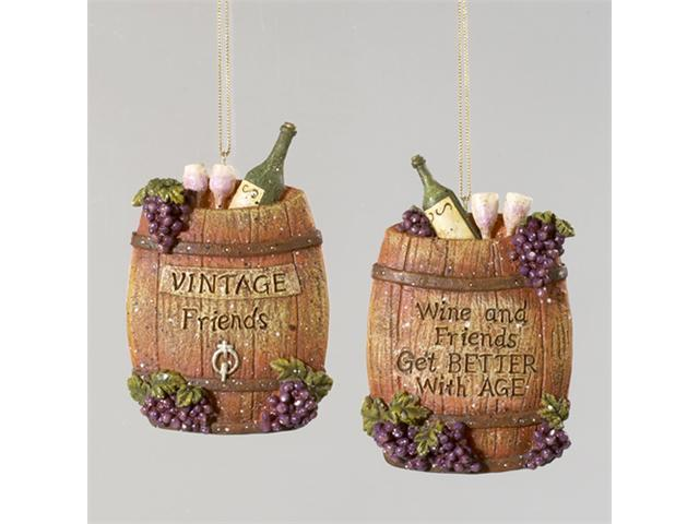 Set of 2 Tuscan Winery Barrel with Verse and Grapes Christmas Ornaments 5