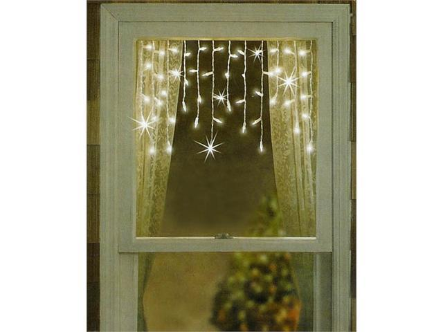 Set of 50 Twinkling & Shimmering Clear Window Curtain Christmas Icicle Lights - White Wire