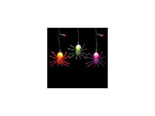 Set of 35 Light up the Night Creepy Spider Novelty Halloween Lights - Black Wire