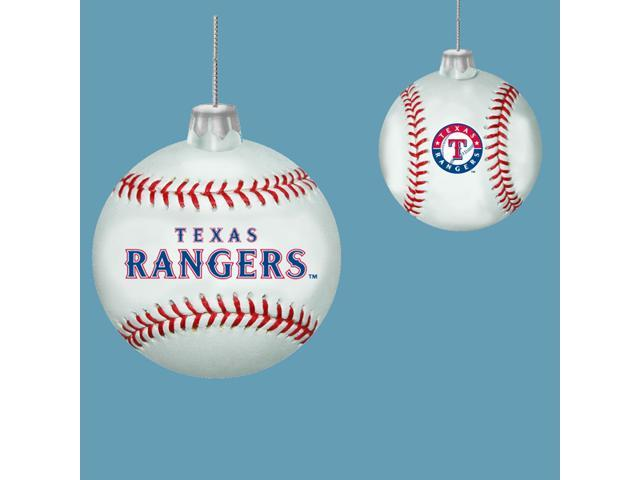 Pack of 6 MLB Texas Rangers Glass Baseball Christmas Ornaments 3.25