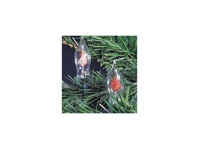 Set of 10 Flicker Candle Flame Novelty Christmas Lights - Green Wire