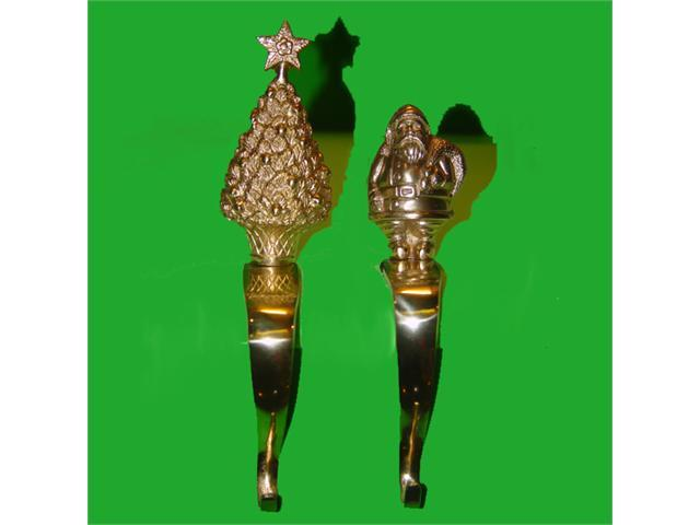 """Club Pack of 12 Brass Christmas Tree and Santa Claus Stocking Holders 3.5"""""""