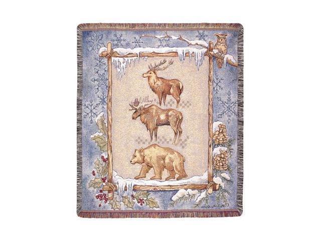 Elk Moose Bear Winter Scene Tapestry Throw 50