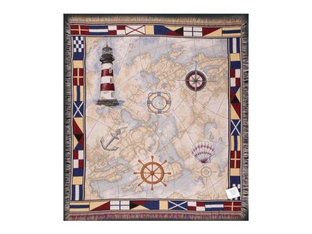 Nautical Theme Lighthouse Map Anchor Flags Tapestry Throw Blanket 50