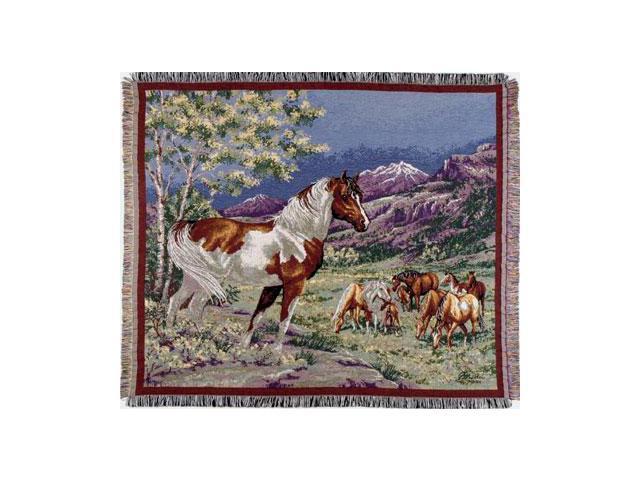Wild Mustangs Horses Tapestry Throw Blanket 50